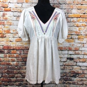 One. September Embroidered Bead Tunic Peasant Top